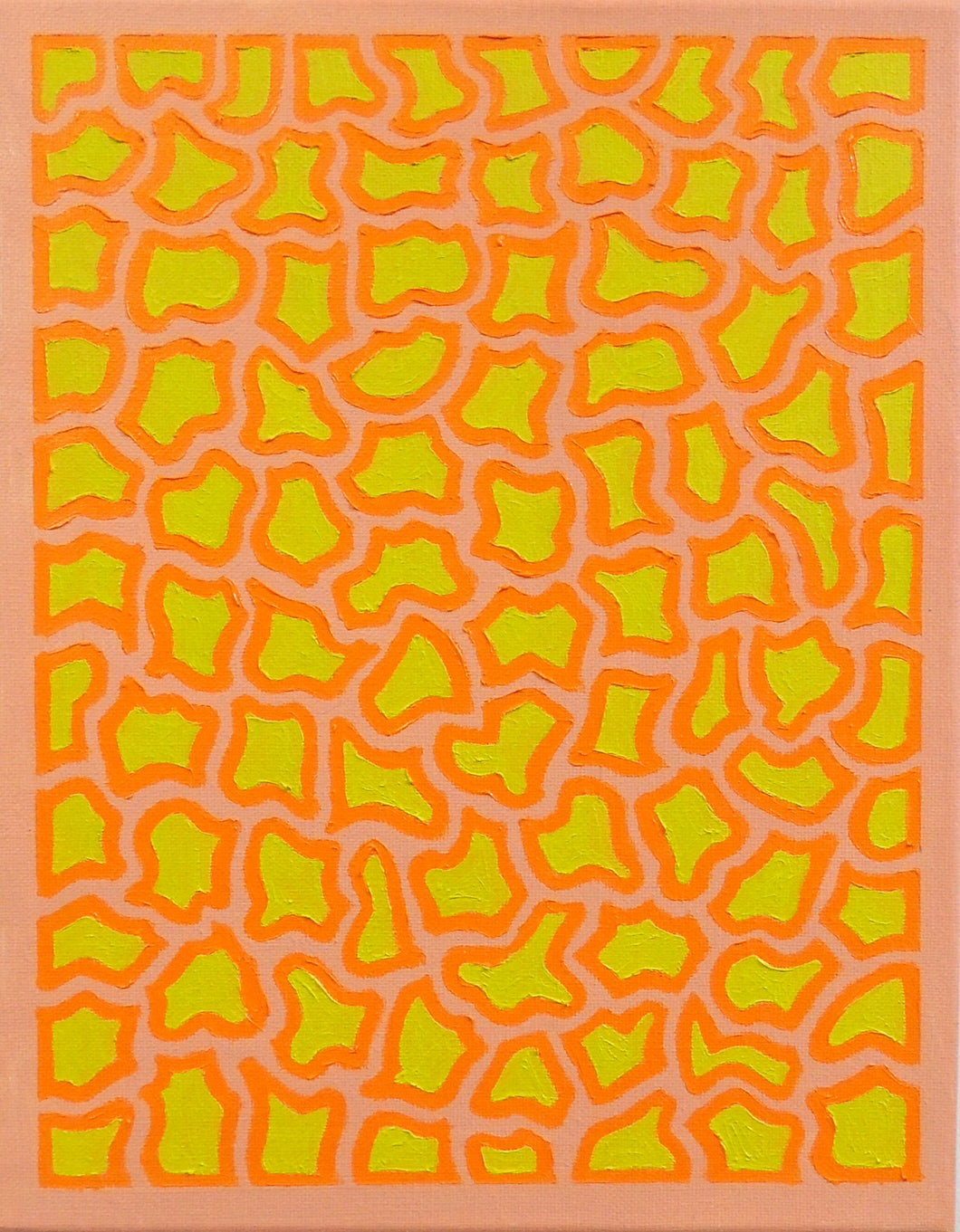Peach, Orange & Neon Green Oil Painting, Elaine Kuckertz