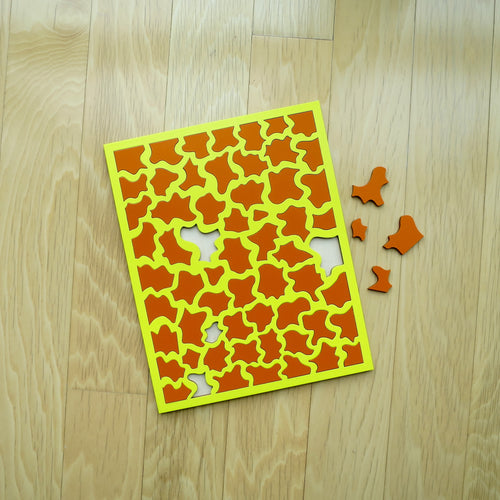 Yellow & Orange Laser Cut Wood Puzzle 8 x 10 in, Elaine Kuckertz