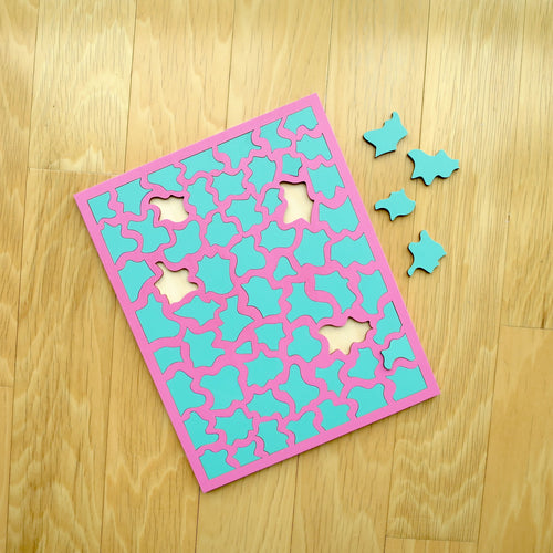 Pink & Aqua Colored Wood Puzzle, Elaine Kuckertz