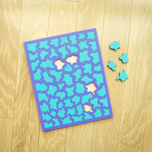 Purple & Aqua Laser Cut Wood Puzzle, Elaine Kuckertz