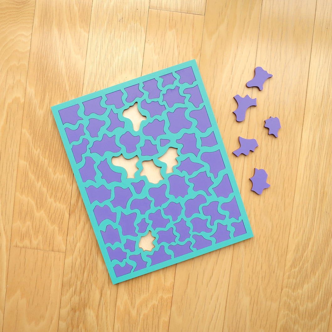 Aqua & Purple Laser Cut Wood Puzzle, Elaine Kuckertz