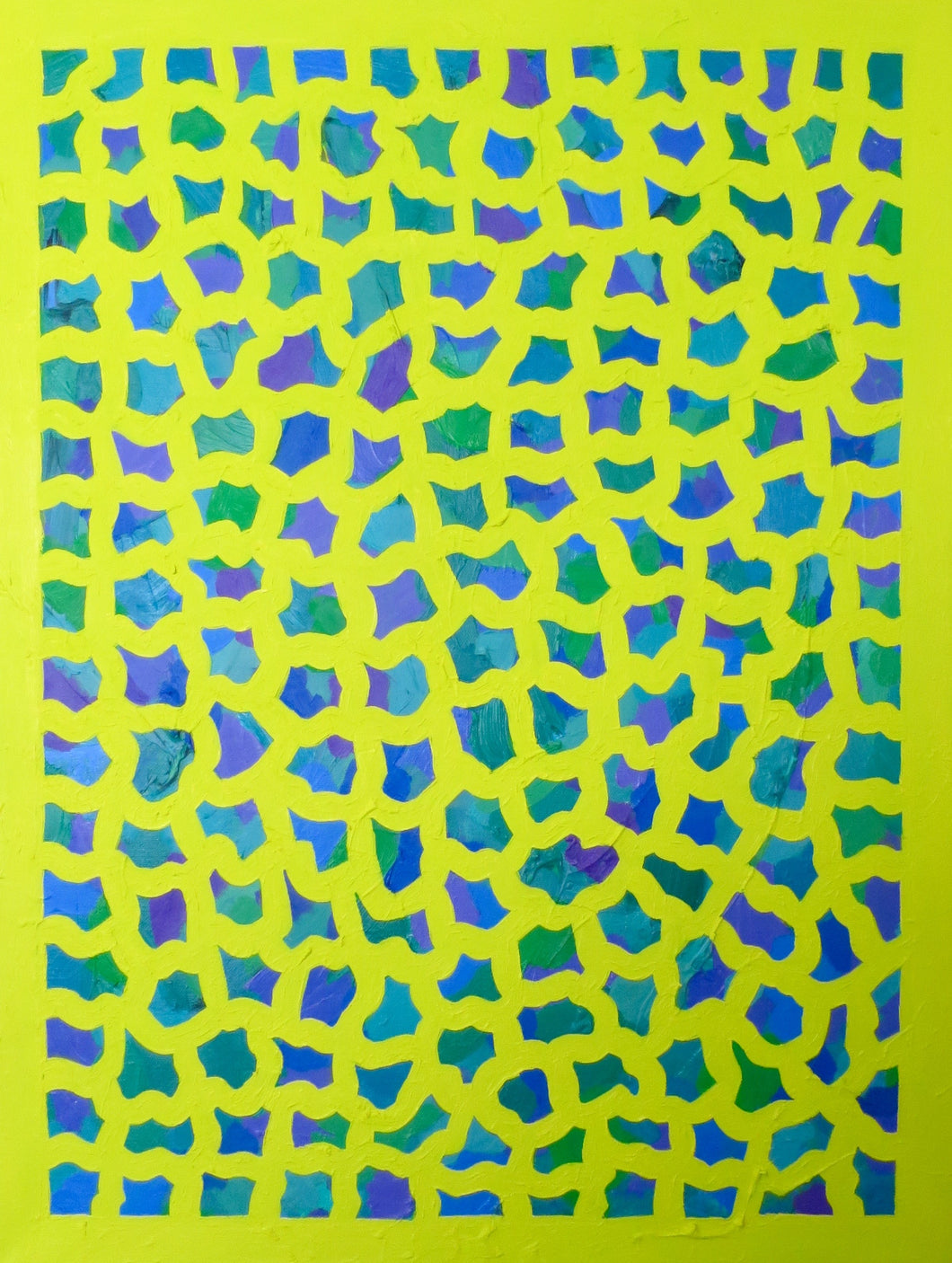 Yellow, Blue, & Green Oil Painting 18 x 24 in, Elaine Kuckertz