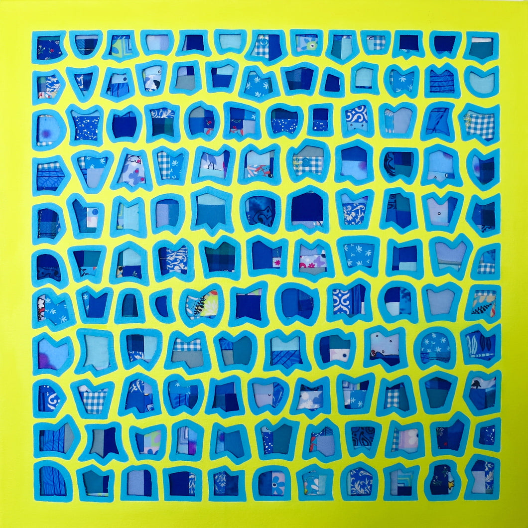 Neon Yellow & Blue Oil / Mixed Media (Fabric) Painting, Elaine Kuckertz