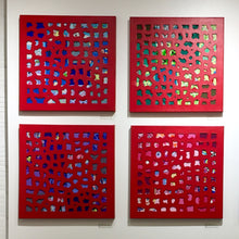 Load image into Gallery viewer, Mixed Media Square Quadritypch, Red Oil Painting, Elaine Kuckertz