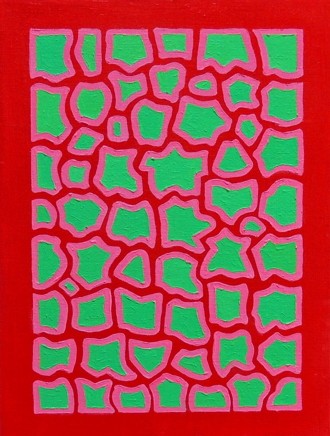 Red, Pink & Leaf Green Oil Painting, Elaine Kuckertz