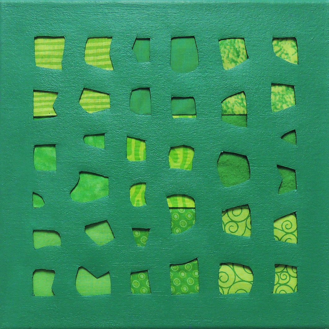 Emerald Green Square Mixed Media Acrylic Painting, Elaine Kuckertz
