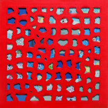Load image into Gallery viewer, Mixed Media Square Painting in Red & Blue, Oil Painting, Elaine Kuckertz