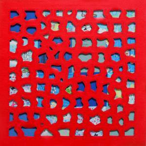 Mixed Media Square Painting in Red & Blue, Oil Painting, Elaine Kuckertz