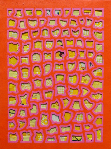 Coral & Yellow Mixed Media Painting, Elaine Kuckertz