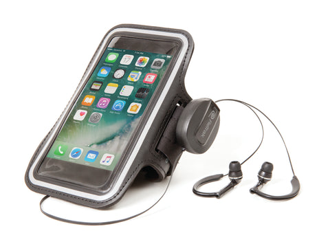 Cell Phone Armband | Retractable Cord | Sports Over-the-Ear Headphones | Small Armband | Blue