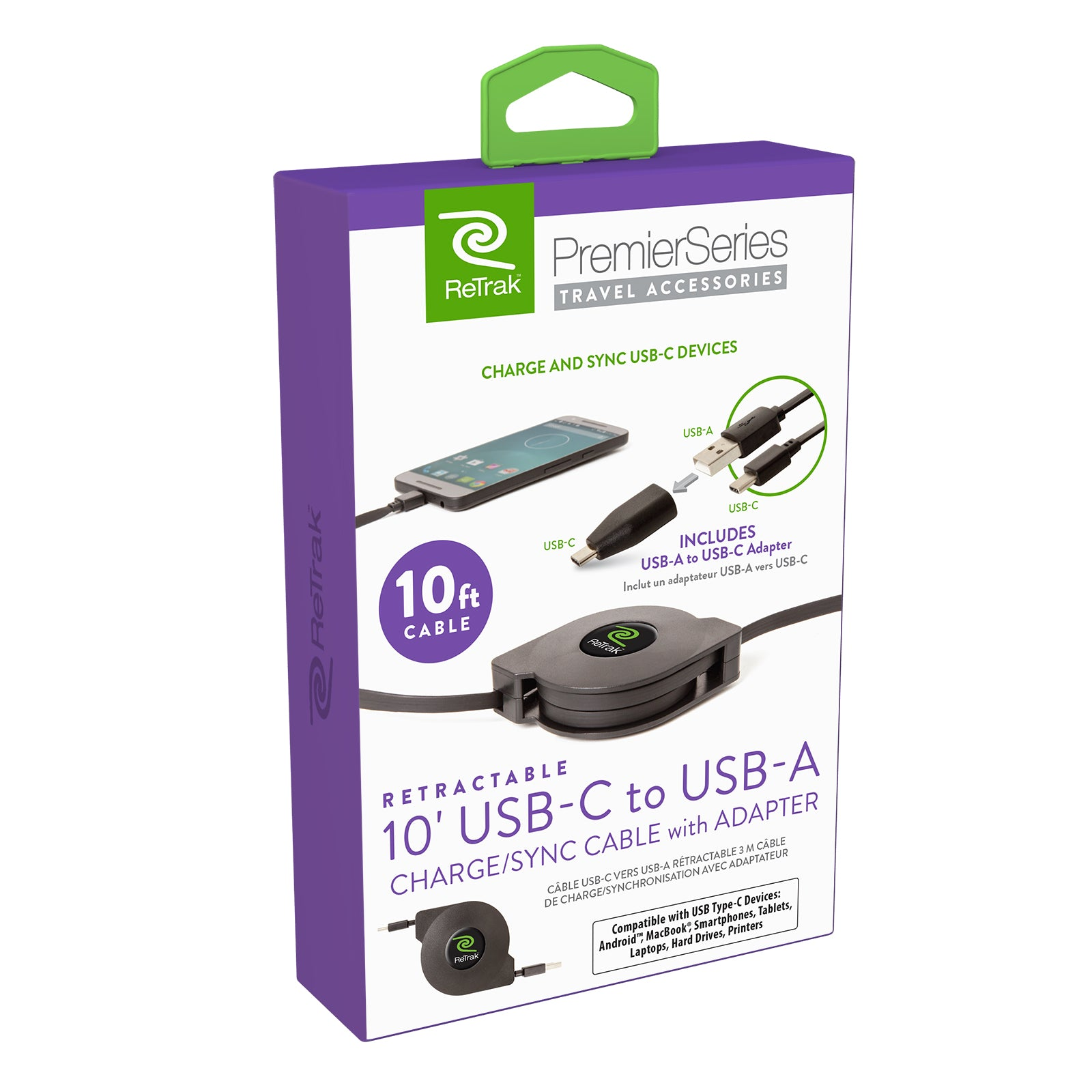10 Ft USB C to USB A Cable with USB C Adapter| Premier Retractable Charge & Sync USB C Cable