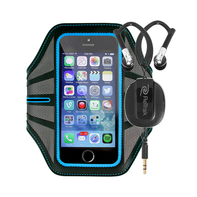Sports Armband and Earbuds | Sports Over-the-Ear Headphones | Large Armband | Retractable Cord | Blue