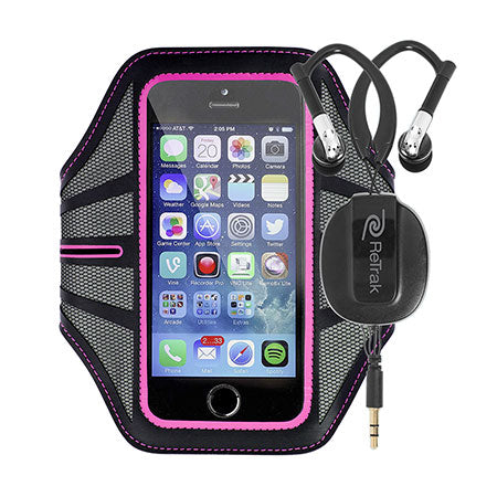 Retractable Cell Phone Armband | Sports Wrap Headphones | Large Armband | Pink