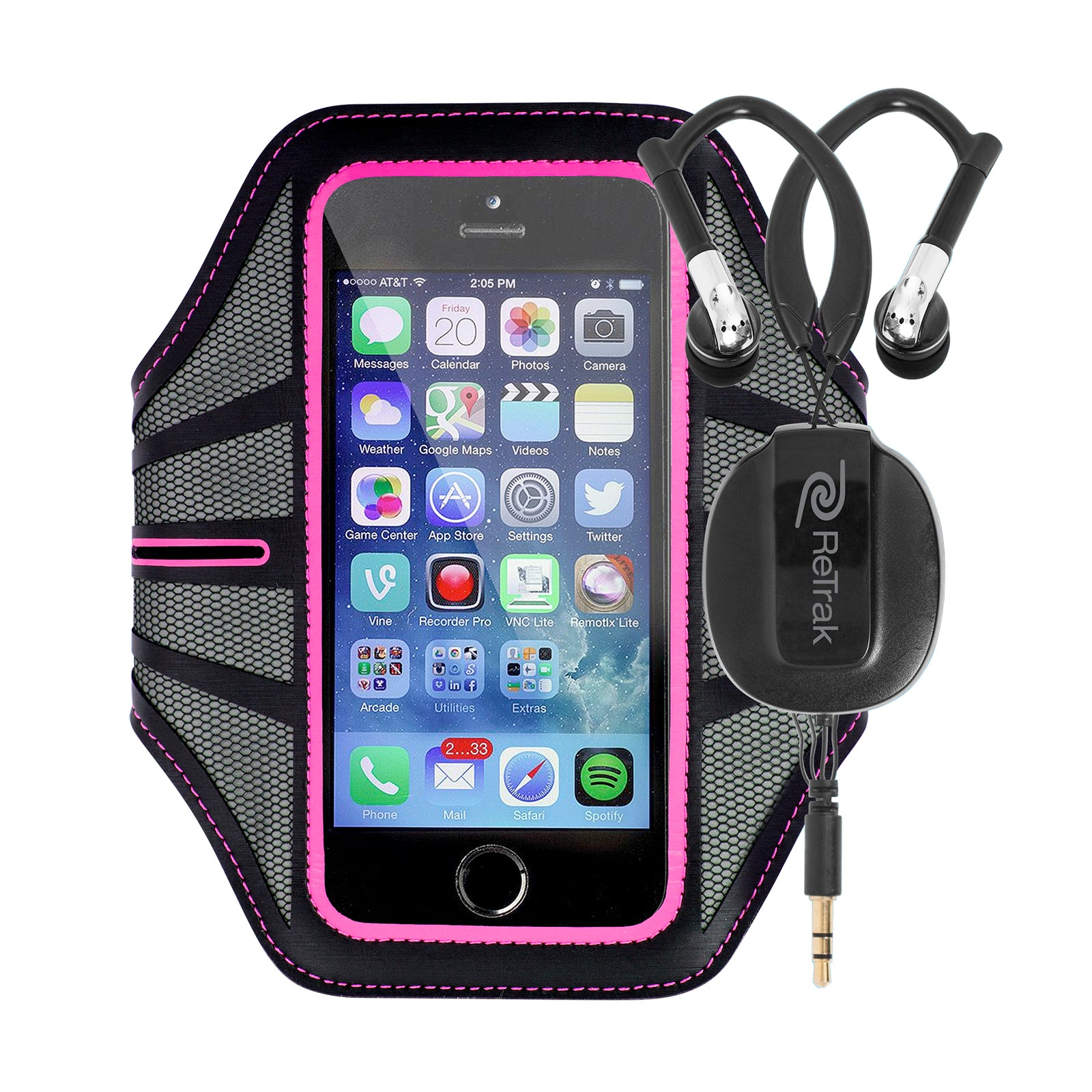 Retractable Cell Phone Armband | Sports Over-the-Ear Headphones | Small Armband | Pink