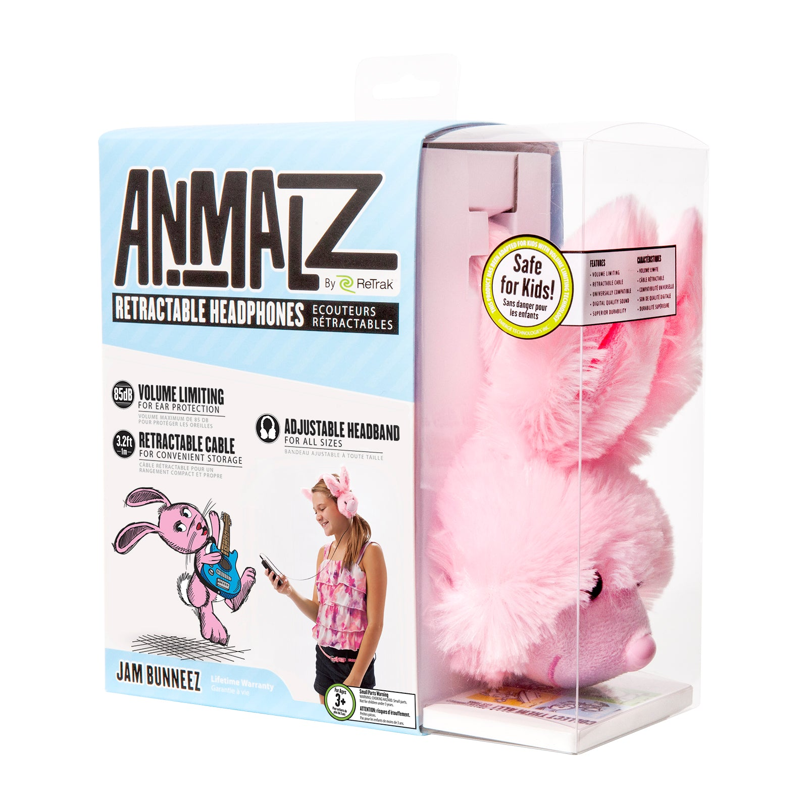 Animalz Ear Headphones Bunny | Headphones for Kids | Retractable Cord