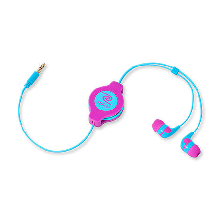 In-ear Earbuds | Retractable Cord | In-ear Headphones | Neon Pink and Blue