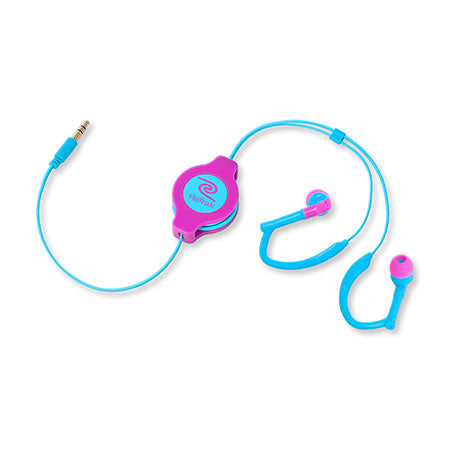 Over-the-ear Headphones | Retractable Cord | Over-the-ear Earbuds | Neon Pink and Blue