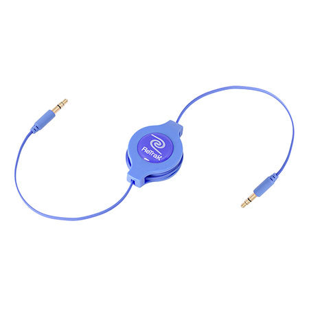 Aux Cable | Auxiliary Cable | Retractable Cord | Blue