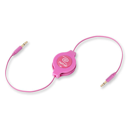 Retractable Headphone Splitter Adapter | Headphone Splitter | Retractable Cord | Pink