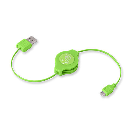 Micro USB Charger Cable | Retractable Micro USB Cord | Green