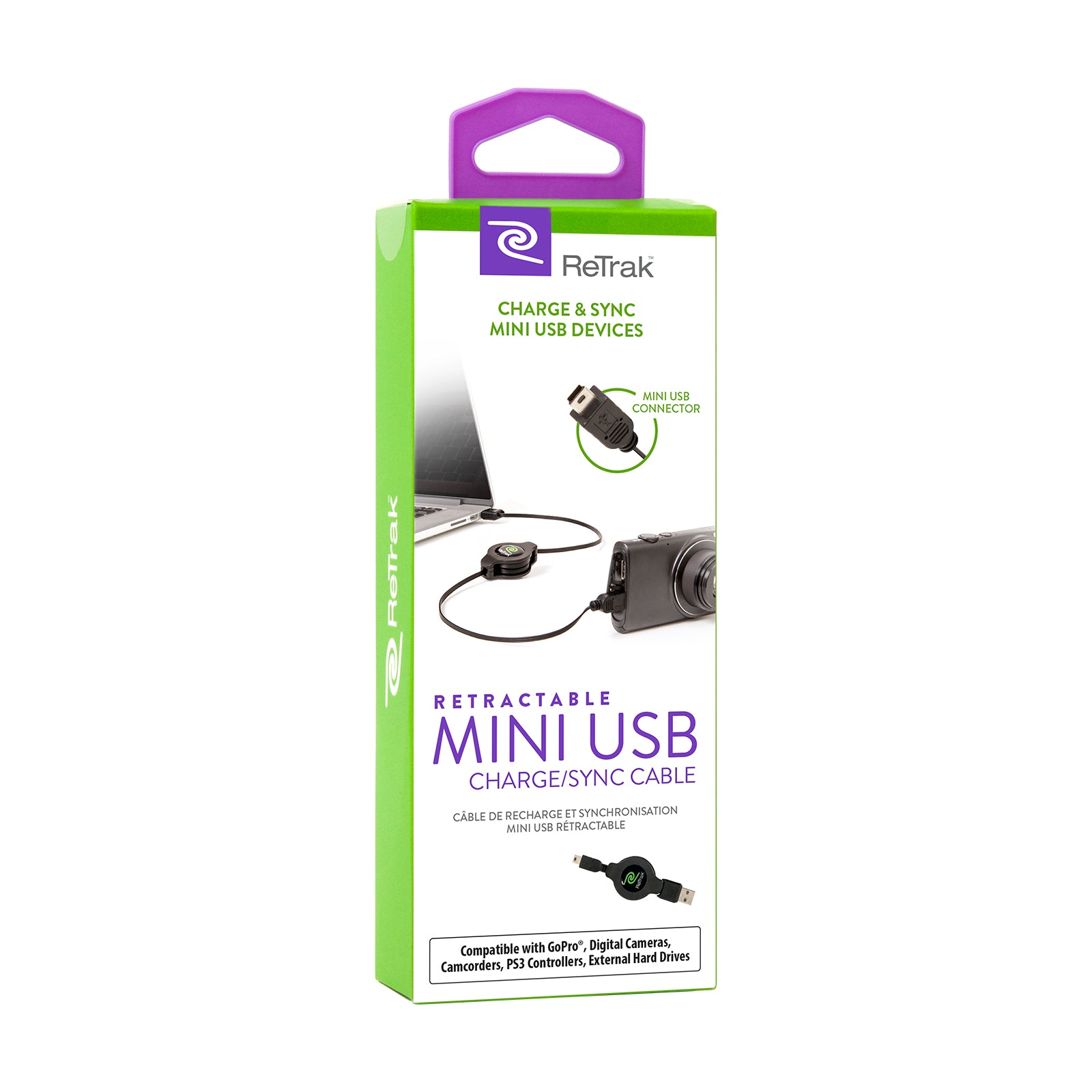 Mini USB Charging Cable | Retractable Mini USB Cord | Black