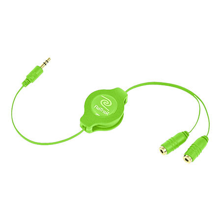 Headphone Splitter Adapter | Headphone Splitter Adapter | Retractable Cord | Green