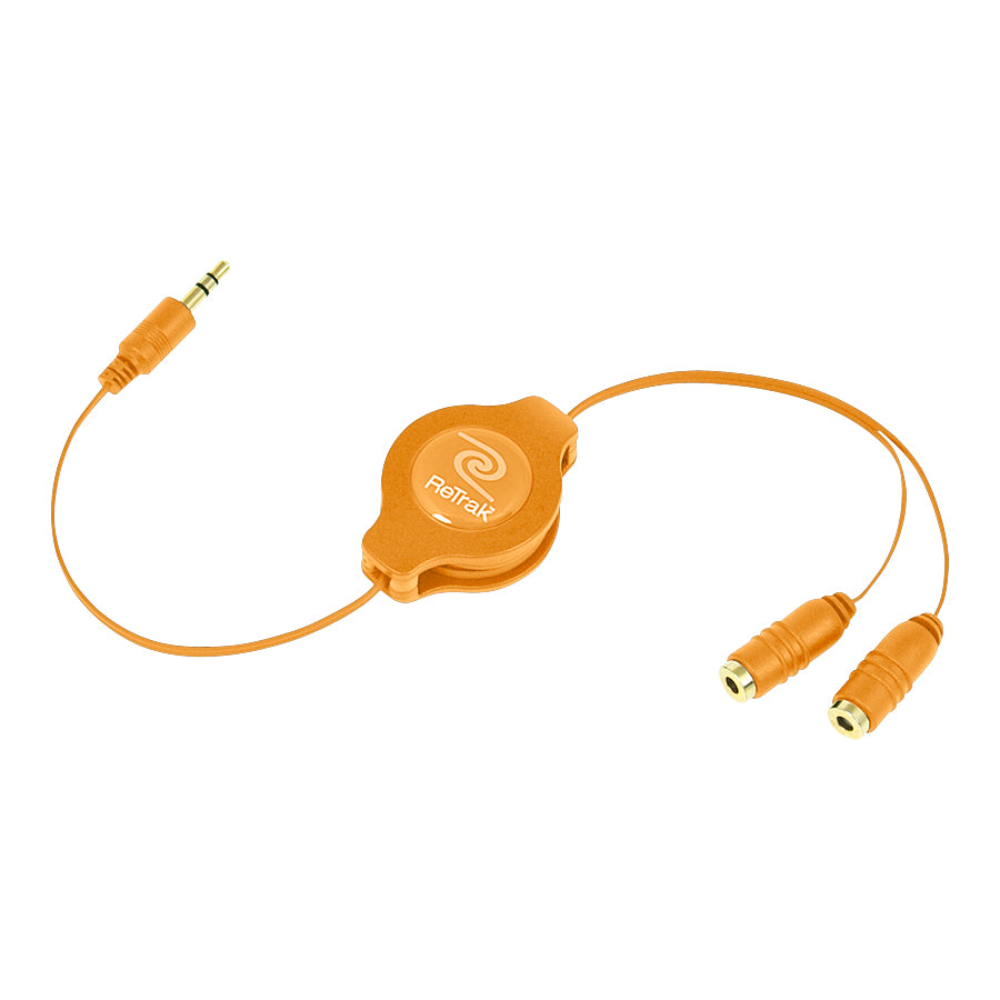 Headphone Splitter Adapter | Headphone Splitter | Retractable Cord | Orange