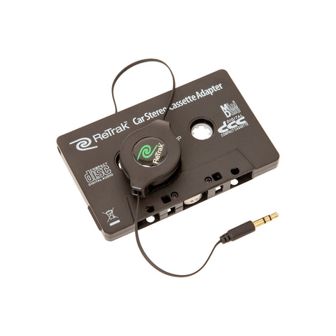 Premier Cassette Adapter with Hands-free Mic | Retractable Cord | Black
