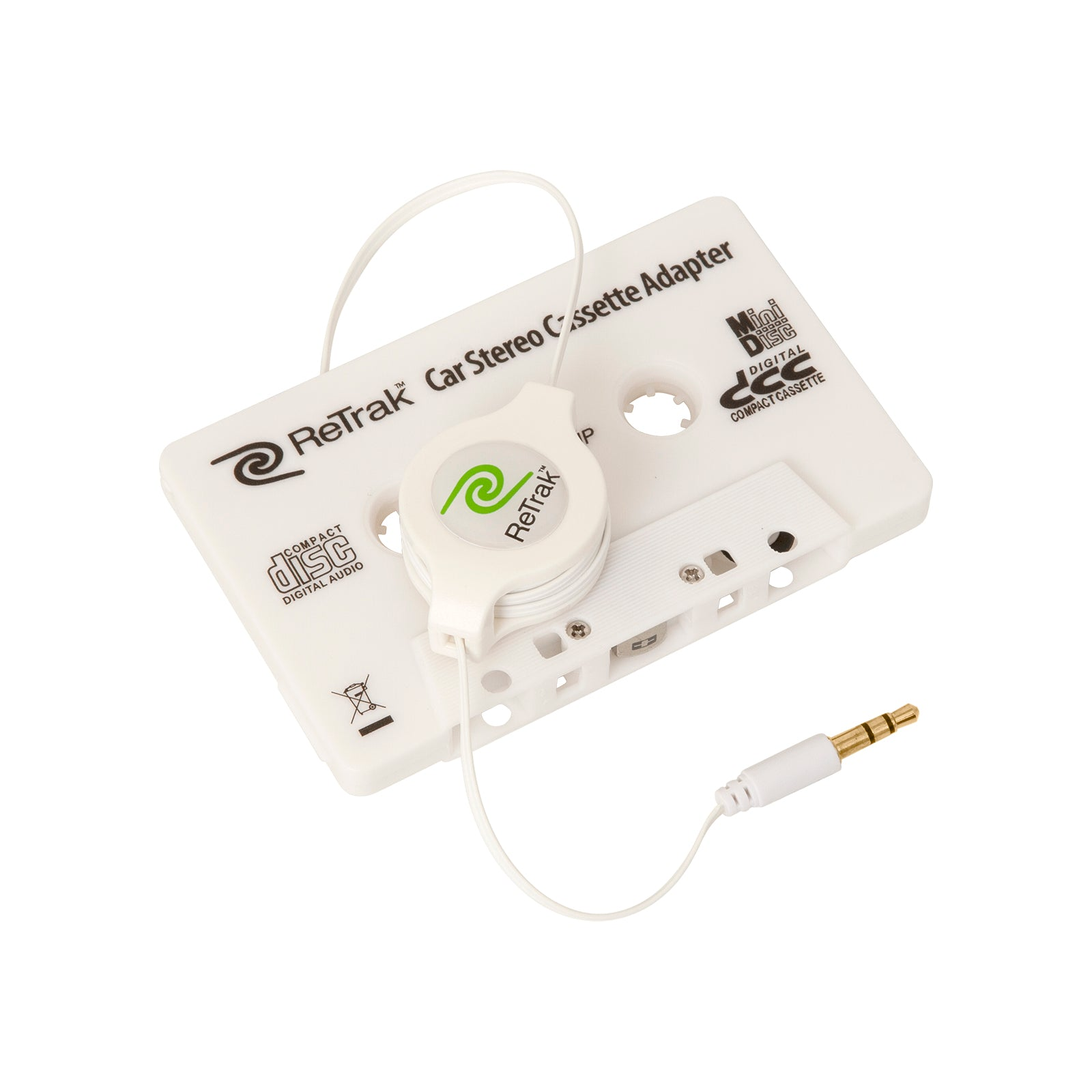 Stereo Cassette Adapter | Retractable Cassette Player Adapter | White
