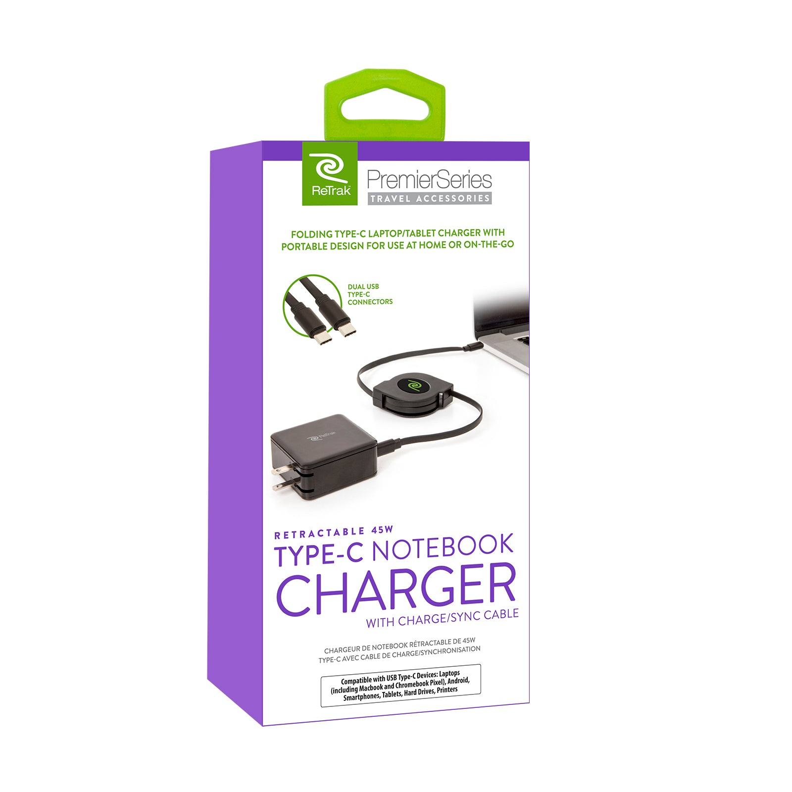 USB-C Notebook Charger | 45W Retractable Charger Cable