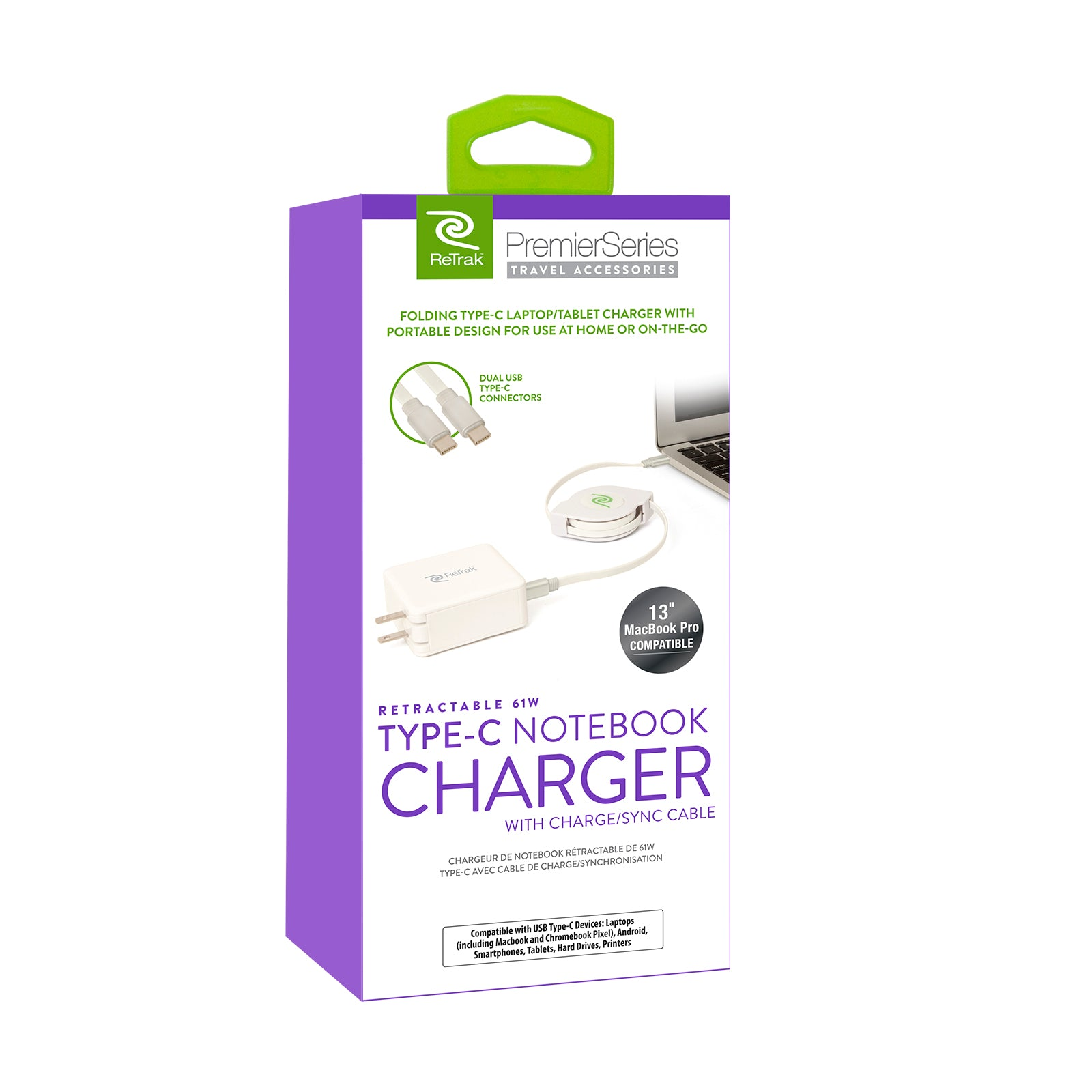 USB-C Charger Notebook | 61W Retractable Charger Cable