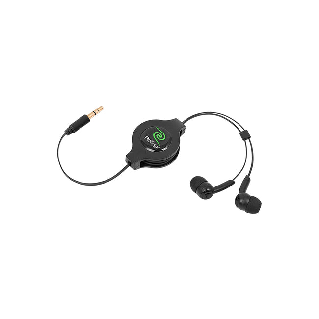 Earbud Headphones | Retractable In-ear Earbuds Cord | Black