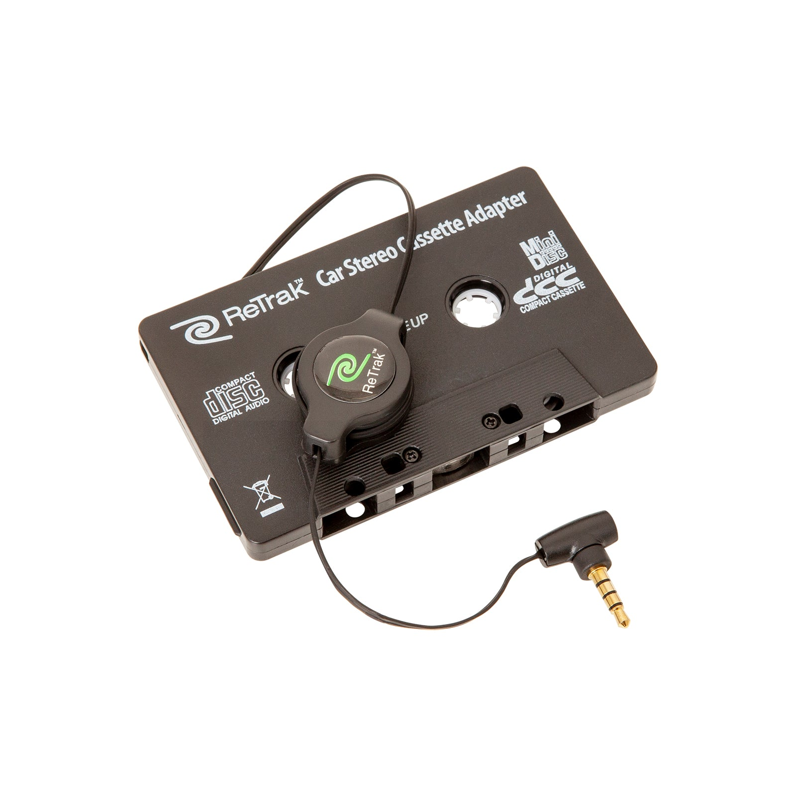 Cassette Adapter and Mic | Retractable Cassette Player Adapter | Black