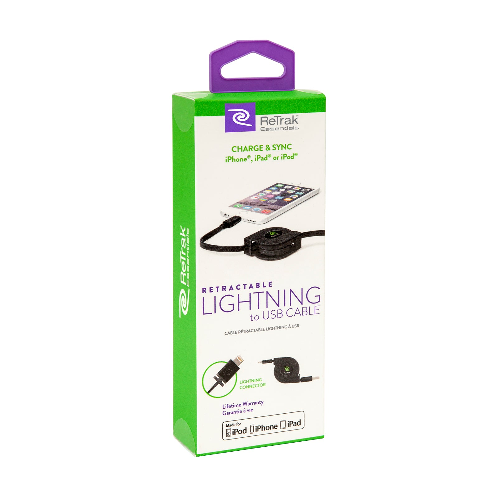 Retractable Lightning Cord | Charge & Sync Lightning Cable | Black