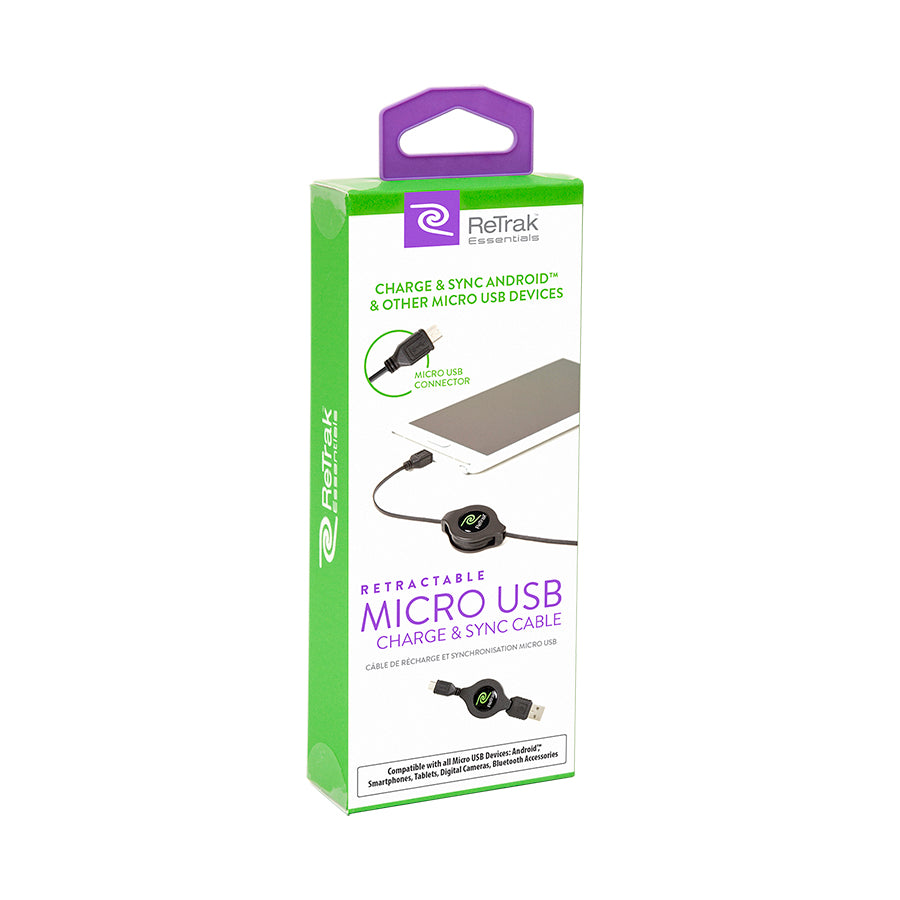 Micro USB Cord | Retractable Micro USB Cable | Black