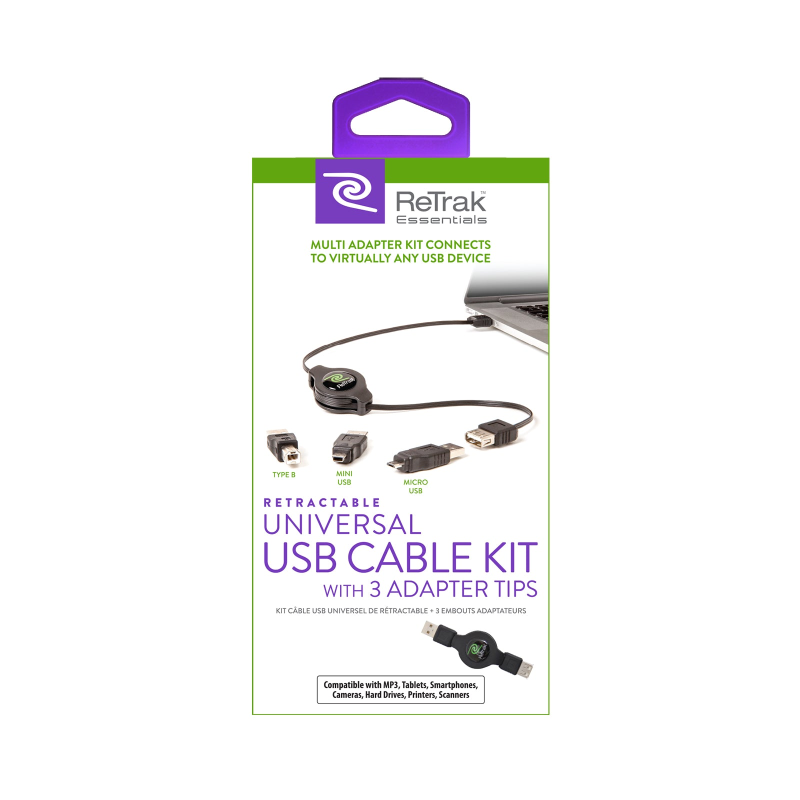USB Universal Extension Cable | 3 Adapters - USB B, Micro 5, and Mini 5 | Retractable Cable