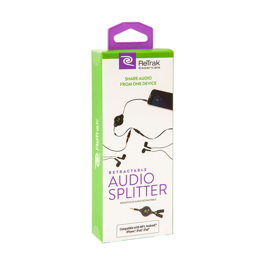 Headphone Splitter | Audio Splitter | Retractable Cord | Black