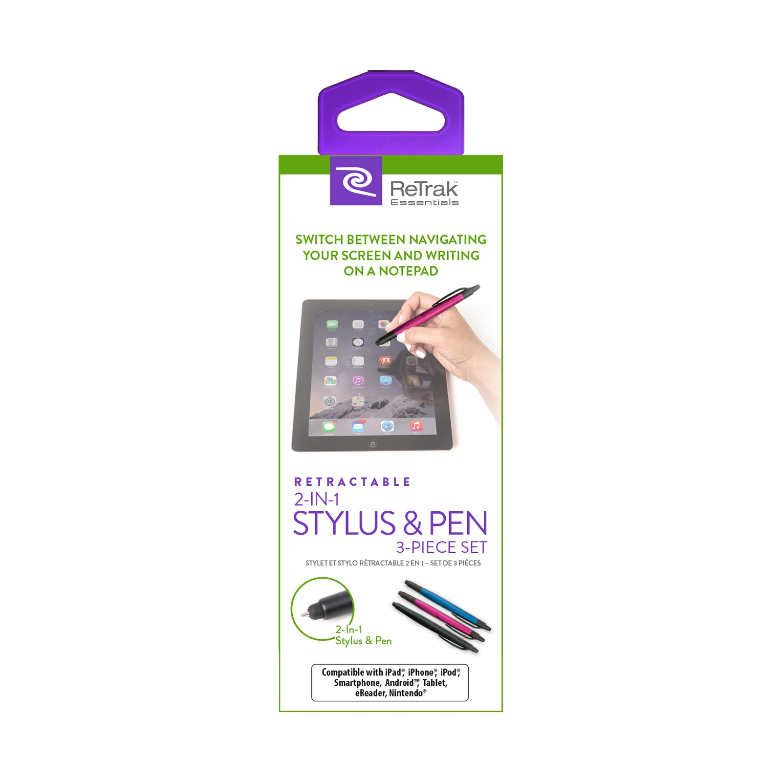 Stylus 3 Pack | Active Stylus Pens | Retractable Pens
