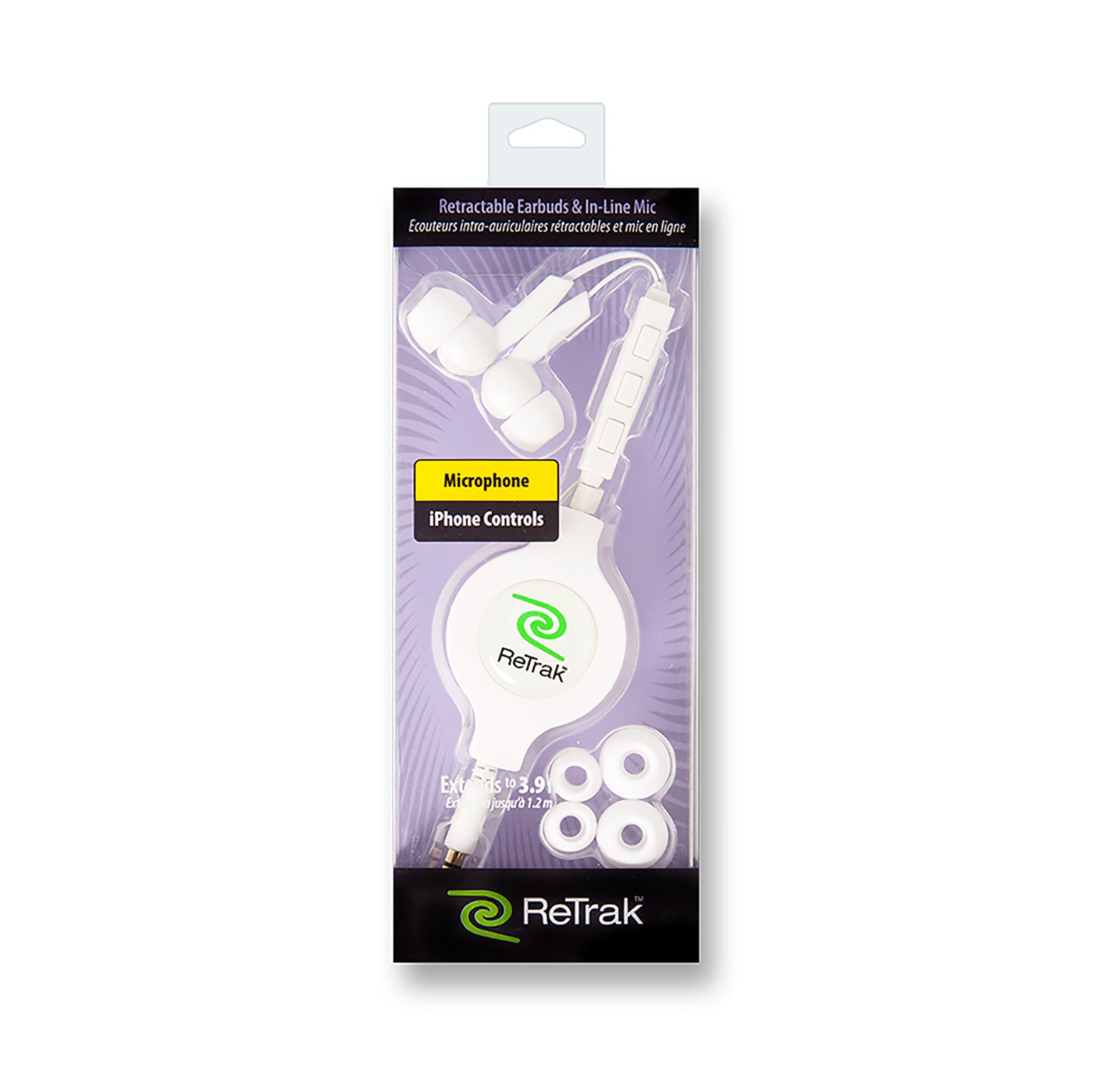White In-ear Earbuds | In-ear Headphones | Retractable Cable | In-Line Mic & iPhone Controls