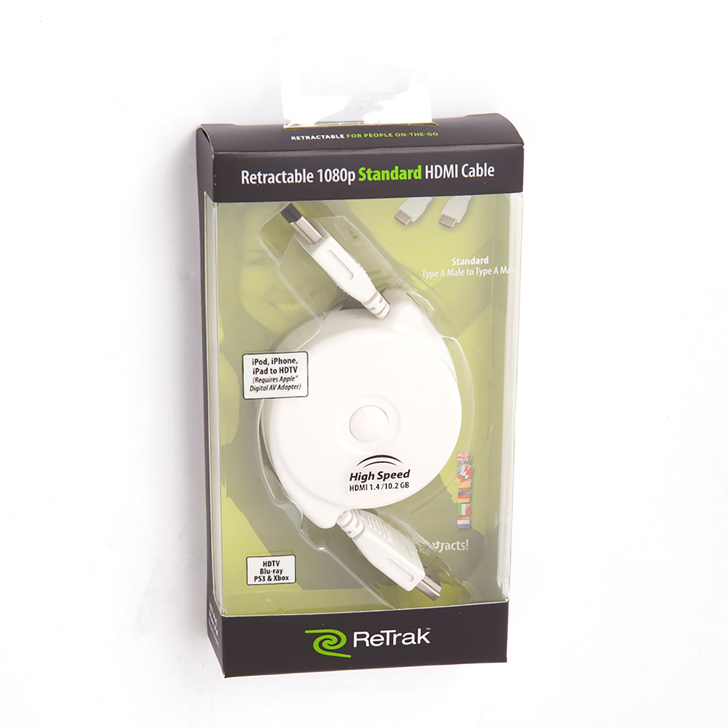 Retractable HDMI Cable | HDMI Cord for 1080p HDTV | Type A to Type A | White