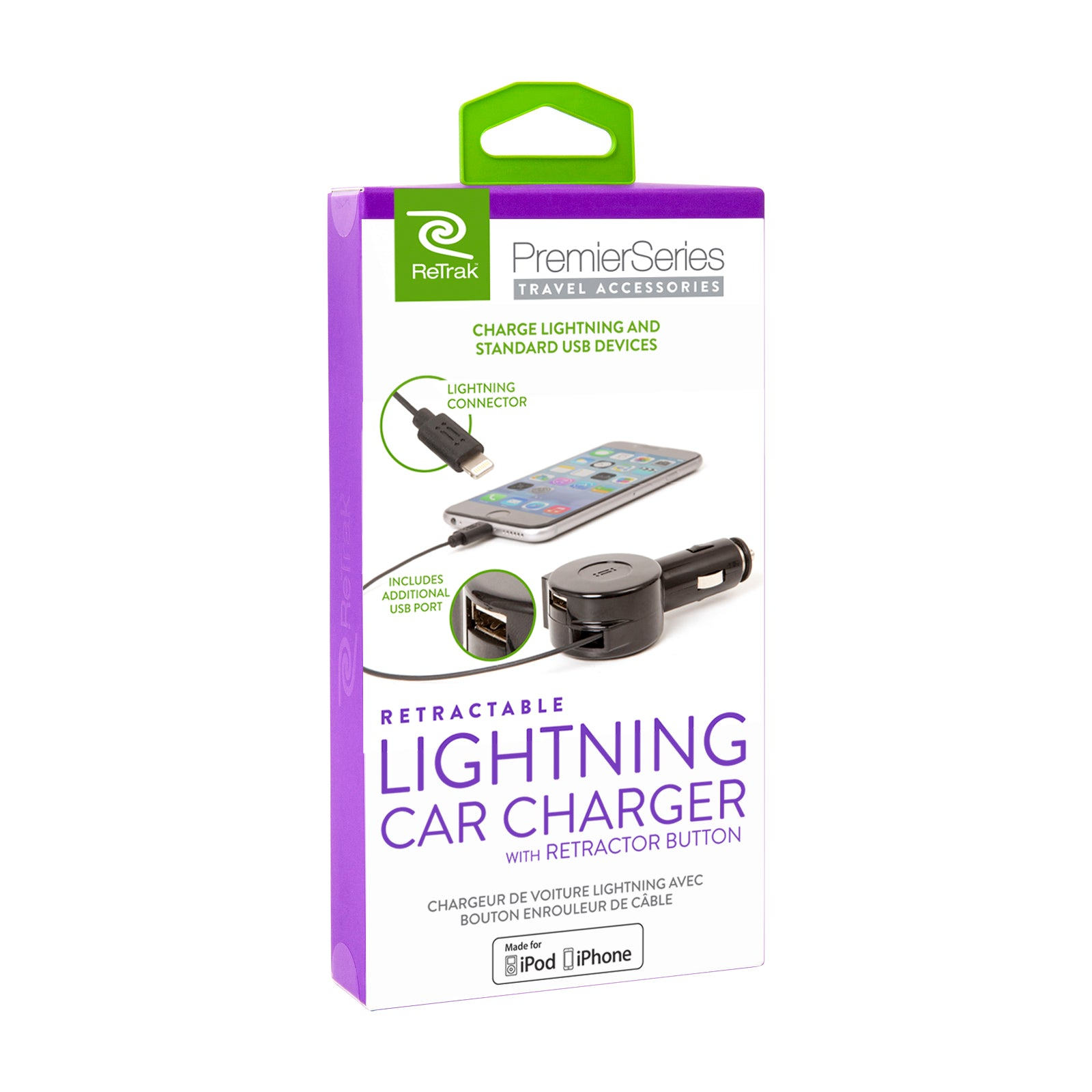 Lightning Car Charger | Retractable Lightning Charging Cable