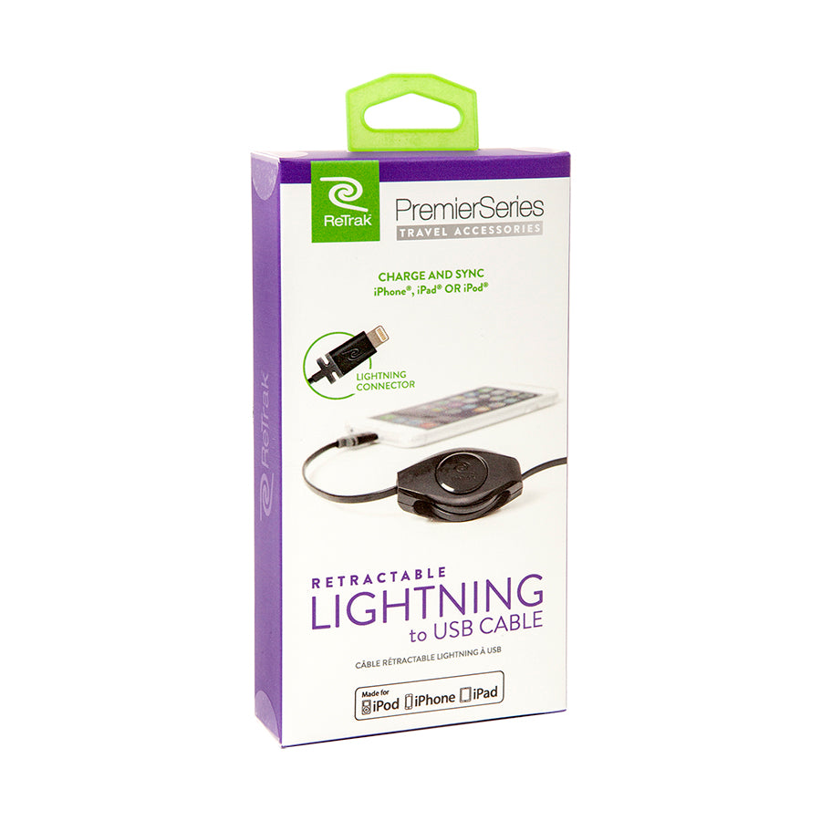 Lightning Cord | Retractable Charge & Sync Lightning Cable | Black