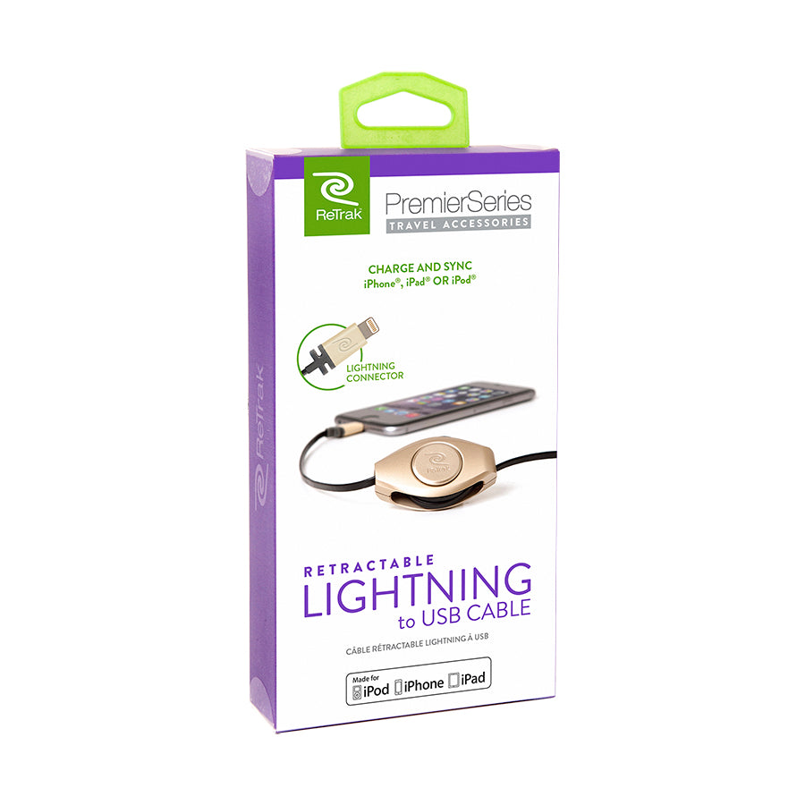 Retractable Lightning Cord | Lightning Charging Cord | Gold