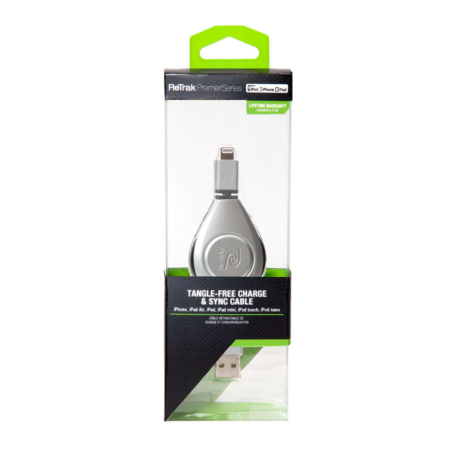 Lightning Charging Cord | Retractable Lightning Cord | Charge & Sync | Silver