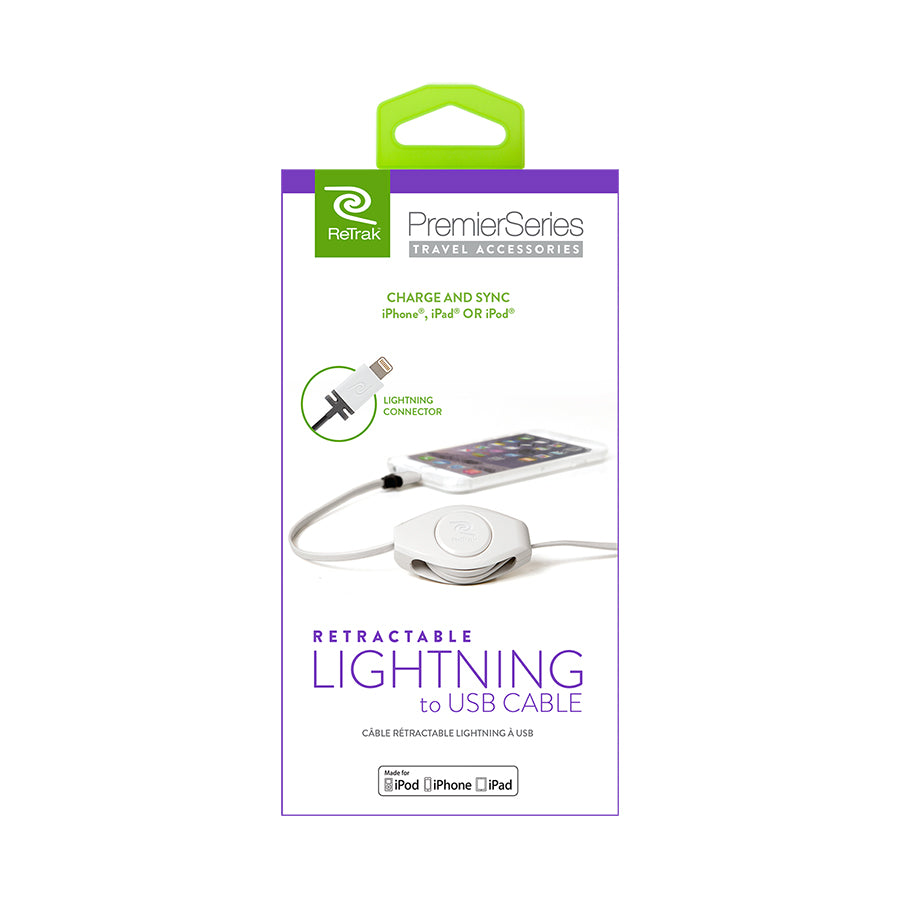White Lightning Cable | Retractable Lighting Charging Cable