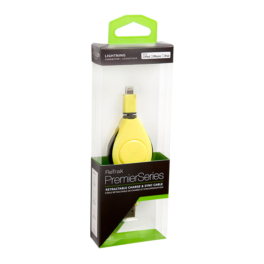 Lightning Charge Cable | Retractable Lightning Cable | Charge & Sync | Yellow