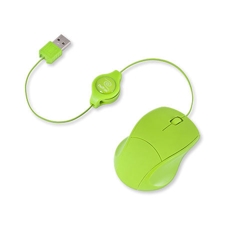 Basic Optical Mouse | Retractable Cord | Green