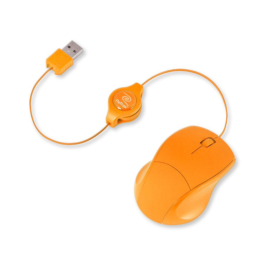 Optical Computer Mouse | Retractable Mouse Cord | Orange