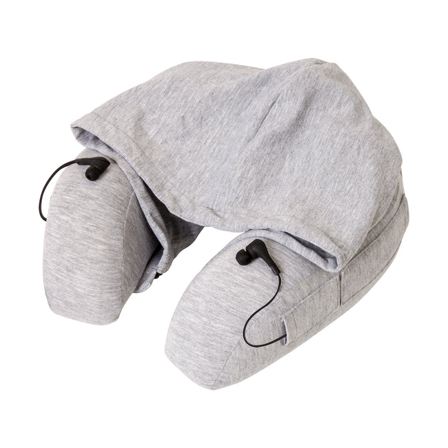 Hooded Travel Pillow with Bluetooth Earbuds