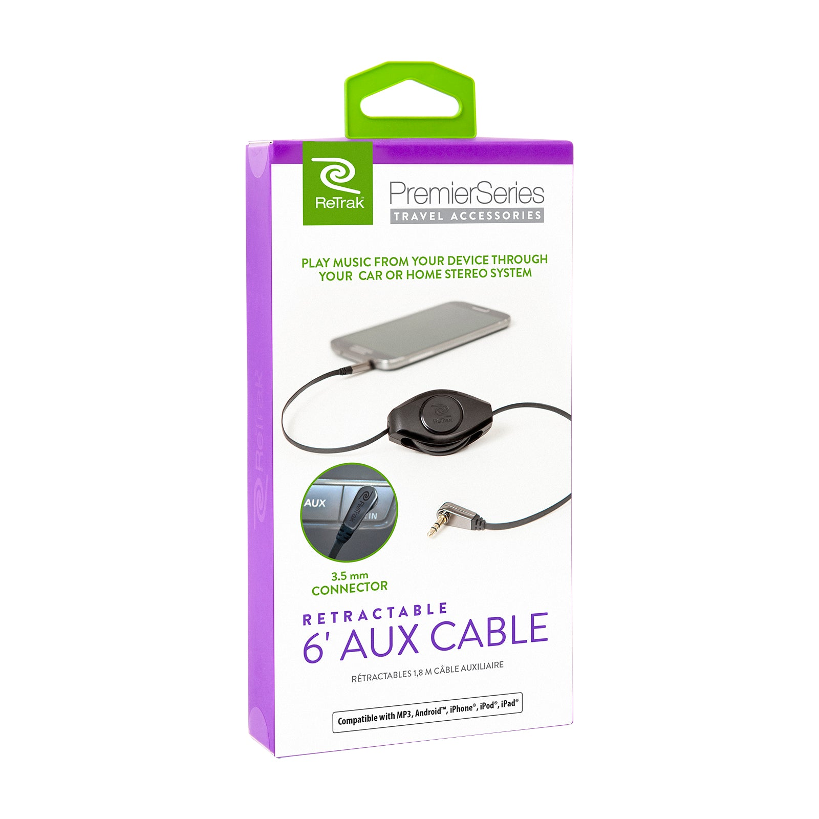 Aux Audio Cable | Auxiliary Cable | Premier Retractable Cable | Black